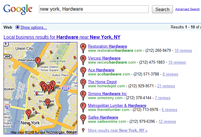 Google Maps Listing Restoration Hardware