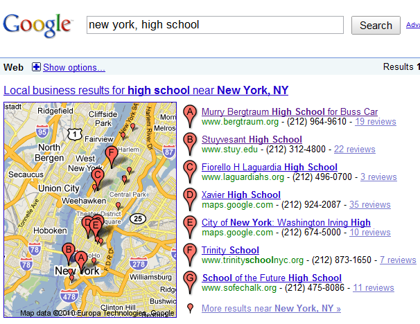Google Maps Listing School of the Future
