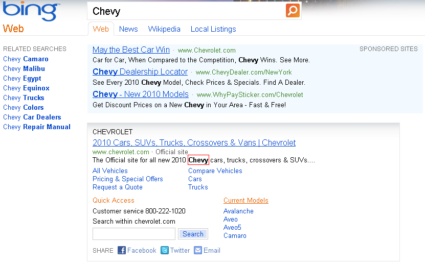Chevy Results Bing