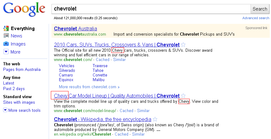 Chevy Search Results