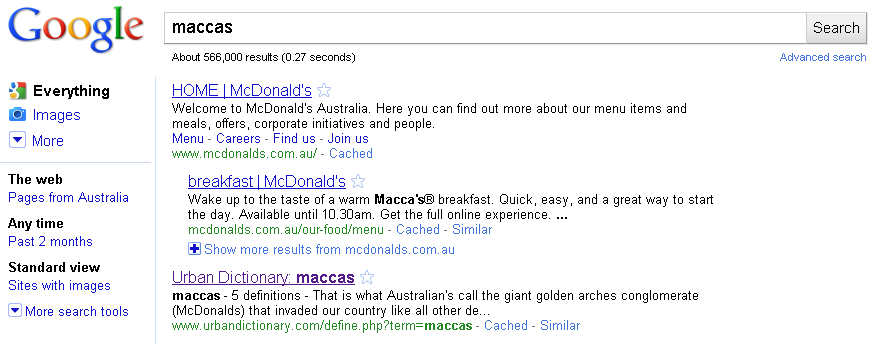 Google Results for Maccas