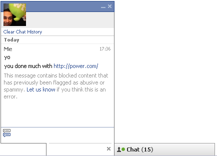 Facebook blocks IM link