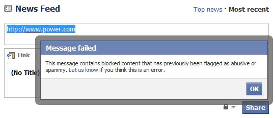 Facebook blocked link