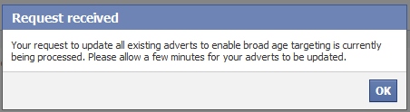 Facebook ads confirmation request