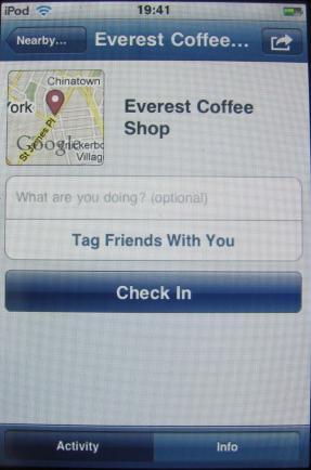 Facebook Places Checkin