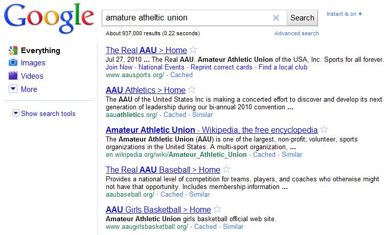 amateur athletic union results