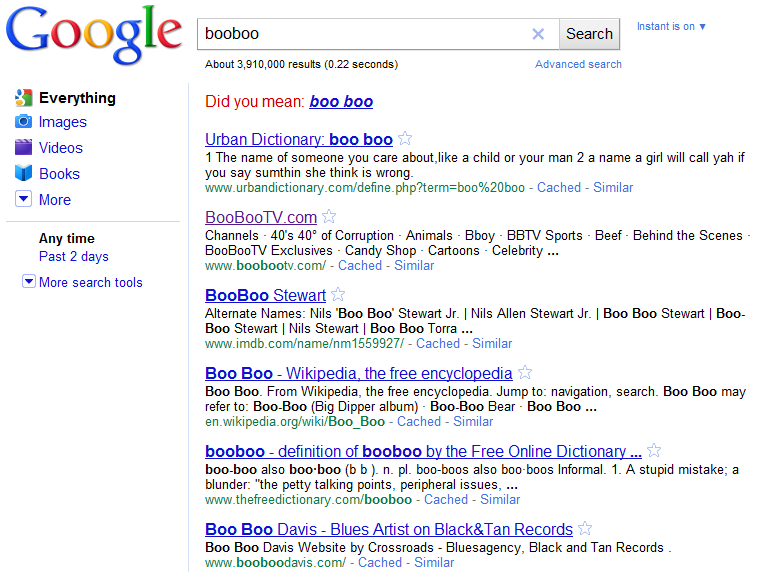 Booboo search results