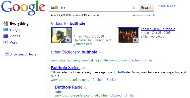 Butthole search results