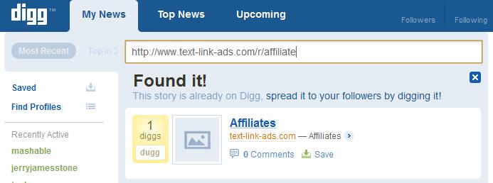No longer banned at Digg