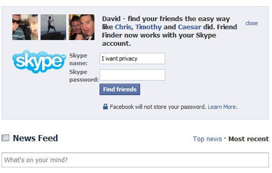 Facebook Privacy Skype