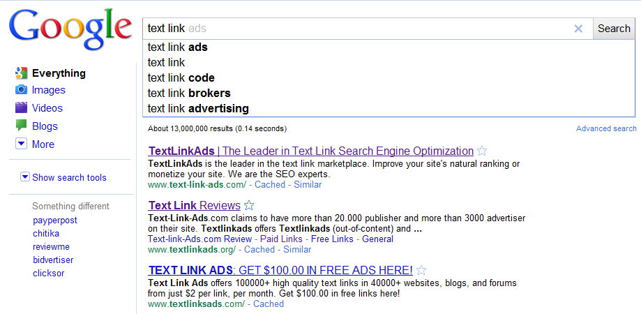 Google Instant Text Link Ads
