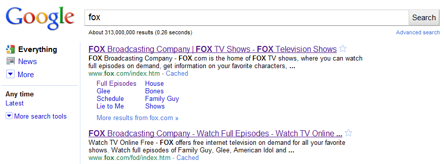 Google Fox Results