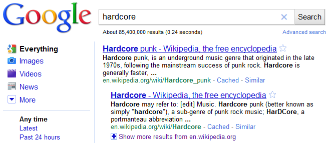 Hardcore Search Results