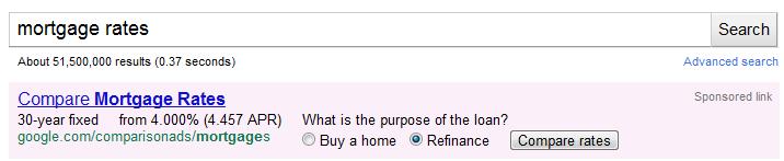 Google Comparison Mortgage Ads