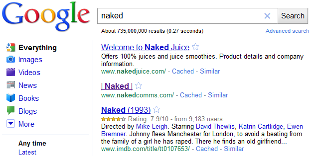 Naked Search Results