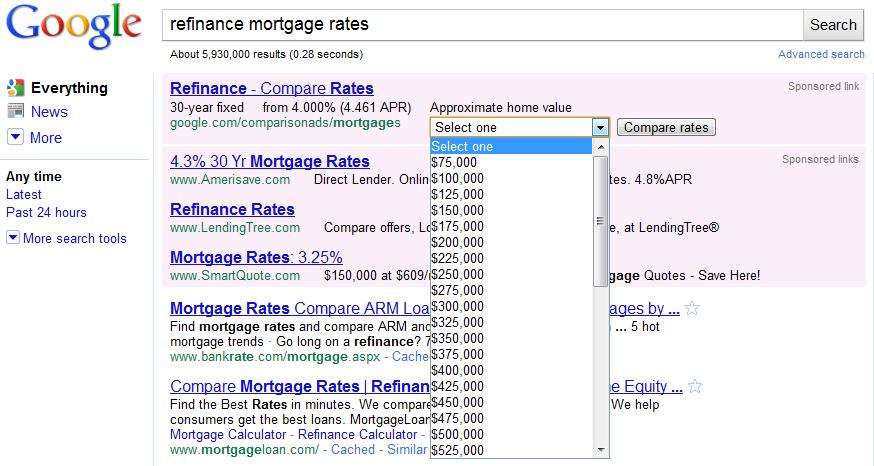 Google Refinance Mortgage Dropdown Ad
