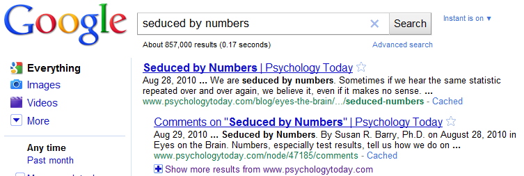 Seduced by Numbers Search Result