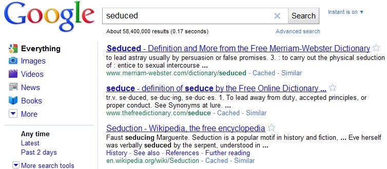 Seduced Search Results