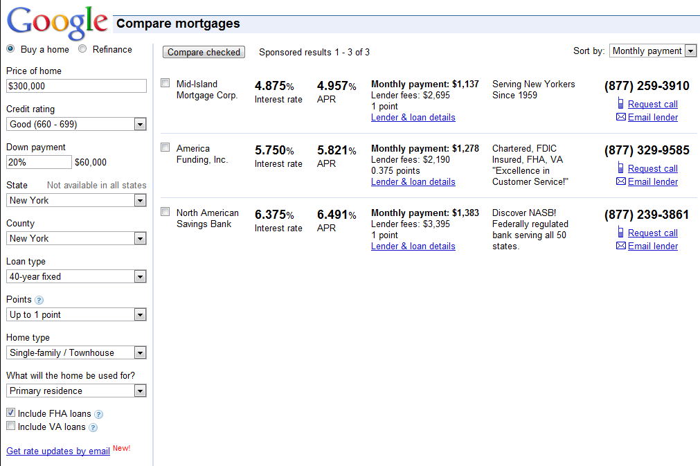 Google Mortgage Results