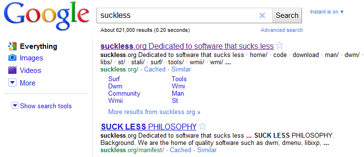 Suckless Search Results