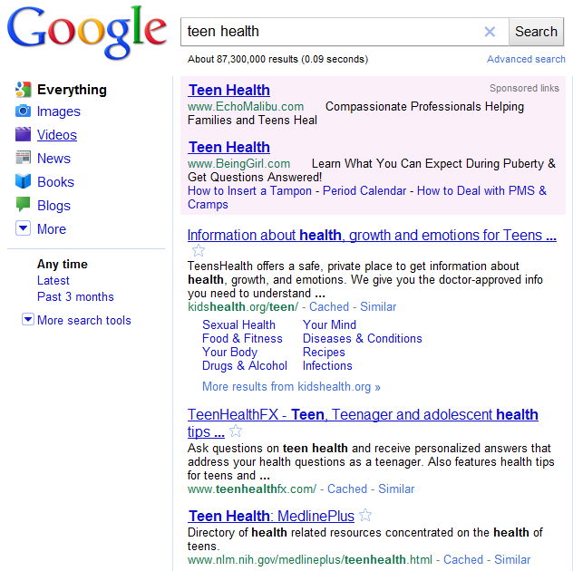 Teen Health Search Results