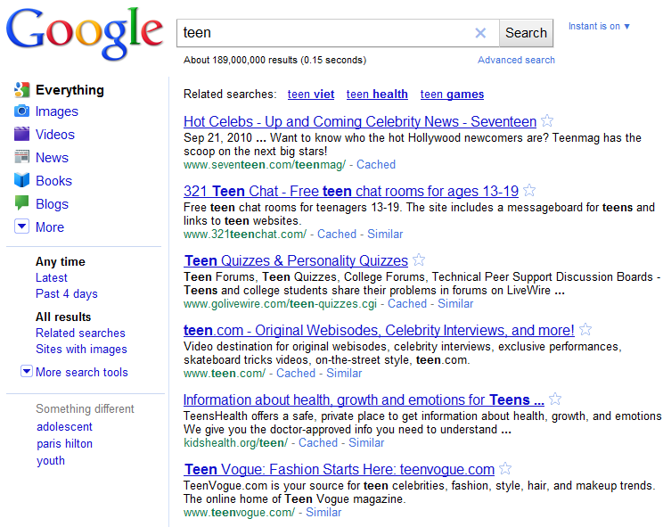 Teen Search Results