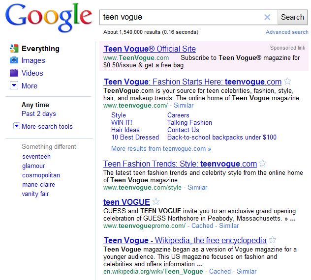 Teen Vogue Search Results