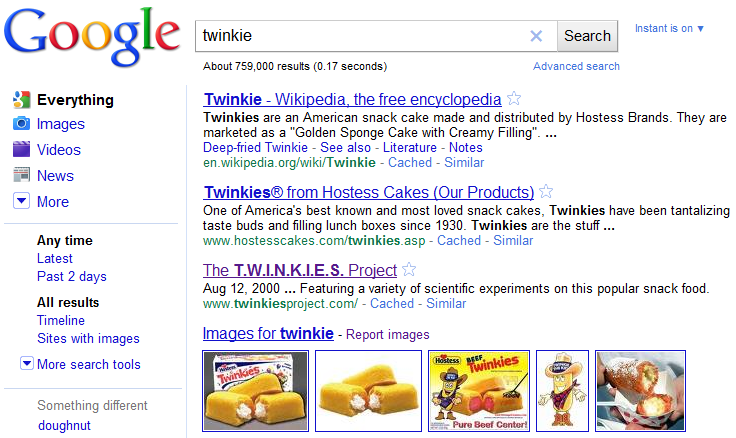 Twinkie Search Results