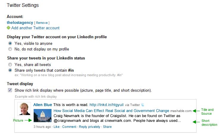 Linkedin Twitter Settings