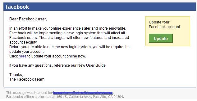 Facebook account update