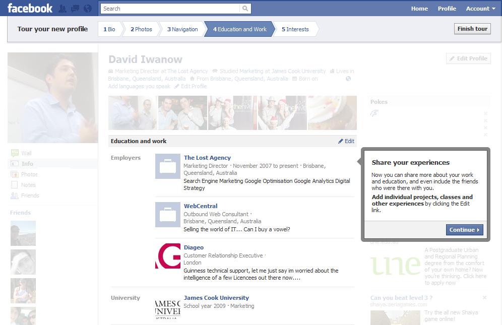 Facebook new profile tour education