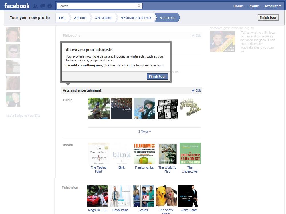 Facebook new profile tour interests