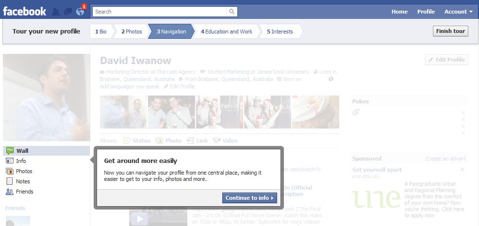Facebook new profile tour navigation