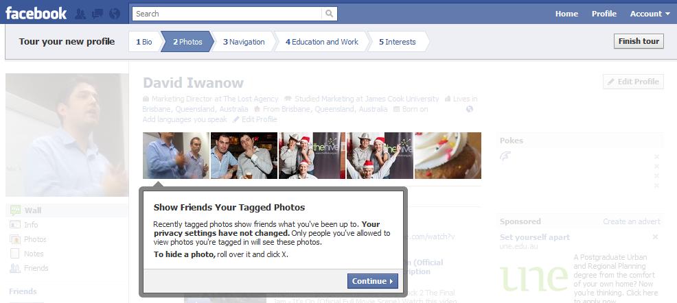 Facebook new profile tour photos