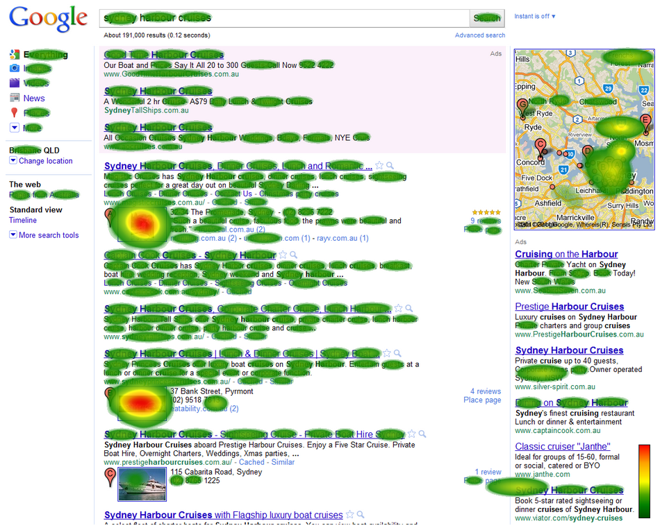 Google Places enhanced result heatmap tracking