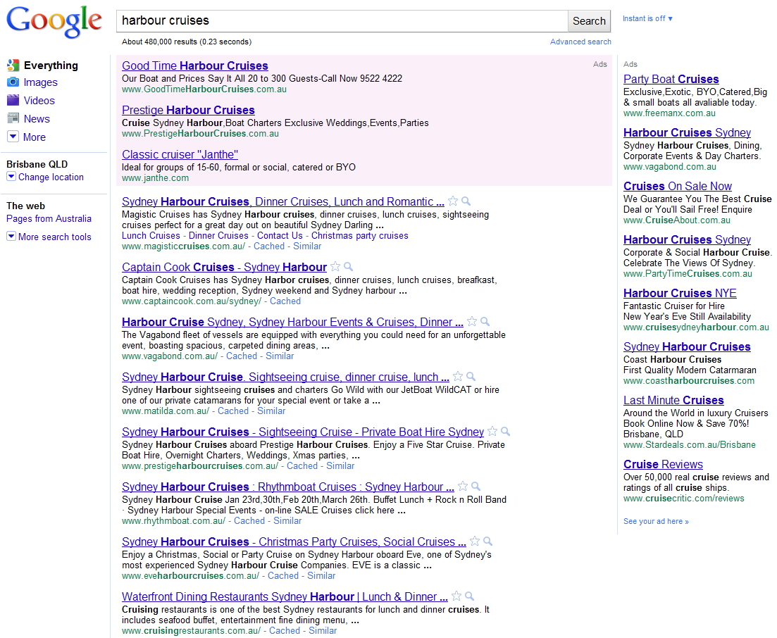 Google Standard Results (No Places)
