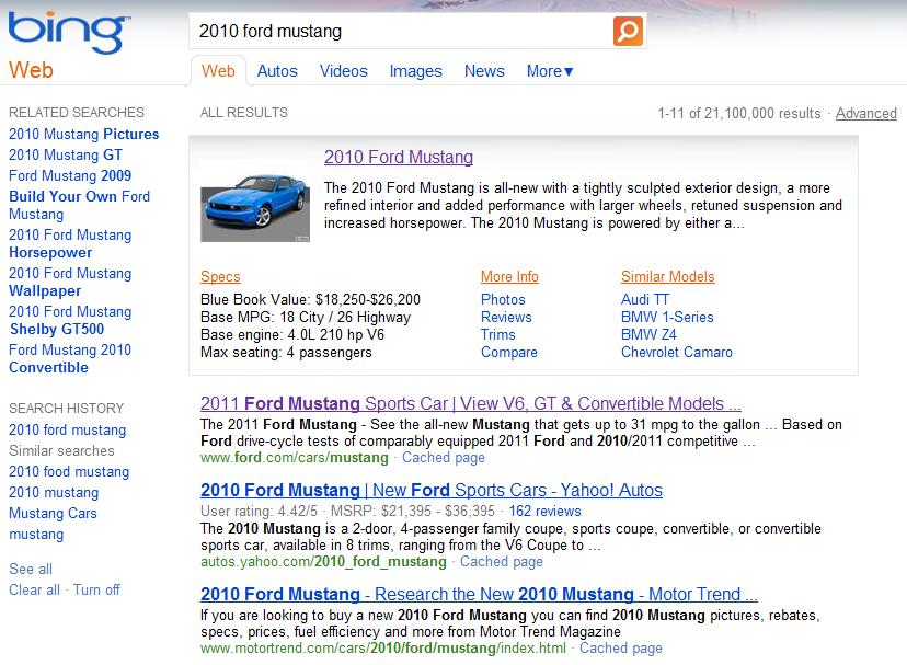 Bing Standard Result
