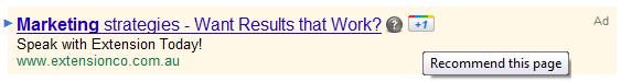 Google Plus 1 AdWords