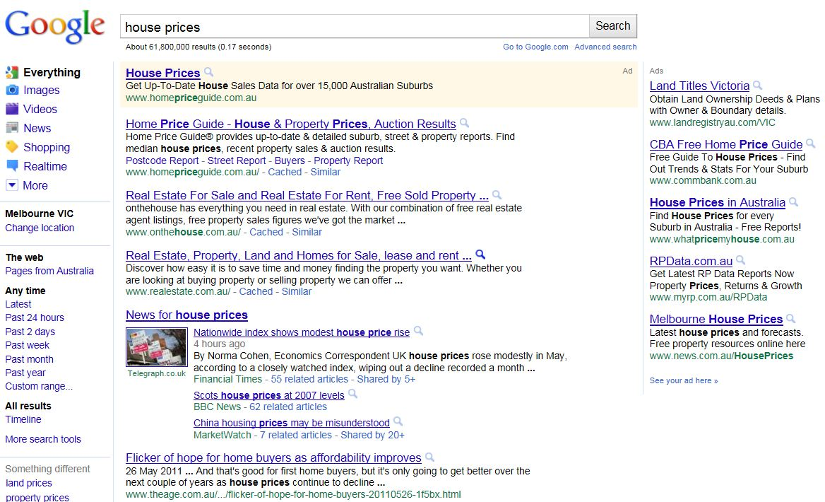 Google House Prices SERPs