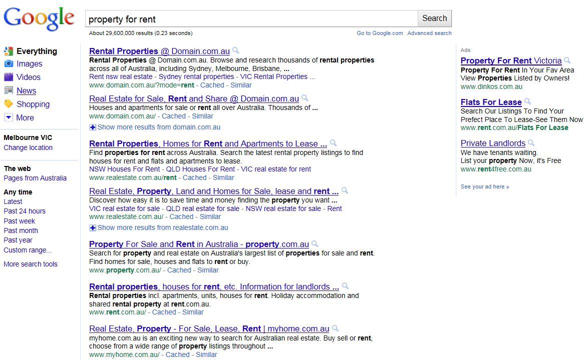 Google Property for Rent SERPs