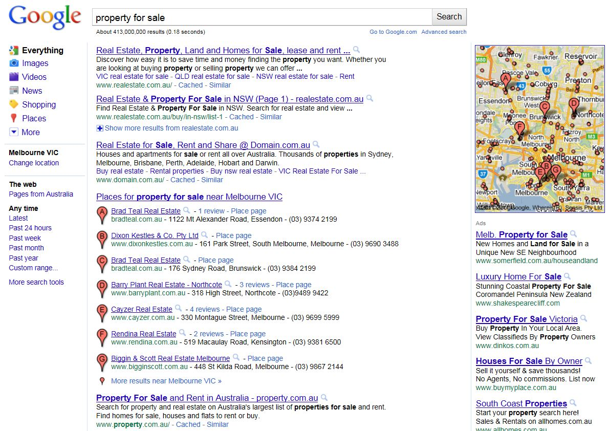 Google Property for Sale SERPs