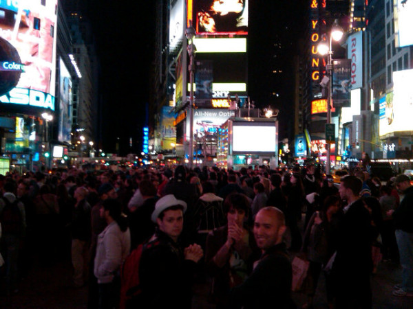 Crowds Celebrate in Times Square, New York