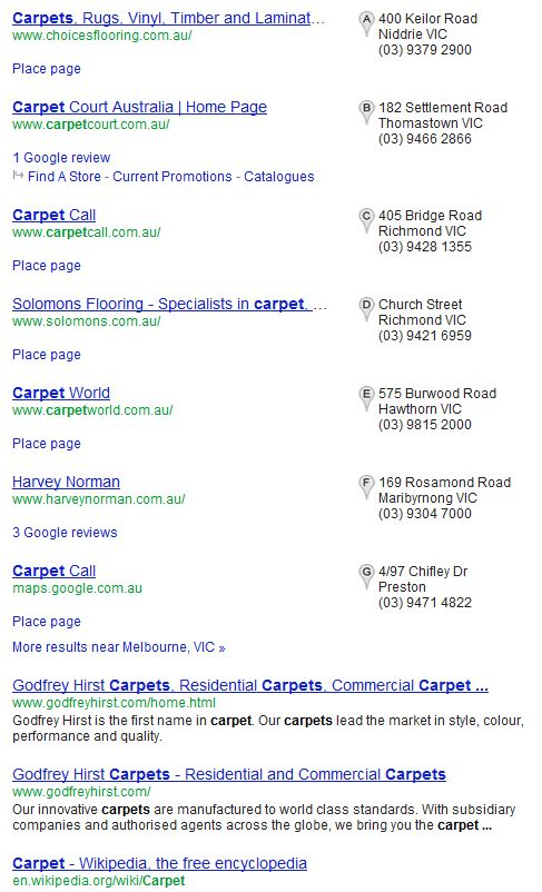 6 Google Places and 6 Organic Results
