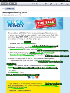 Adjusted Click Frenzy Email
