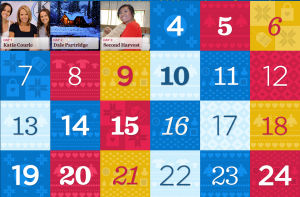 It's a calendar gradually revealing a series of holiday boards from people, businesses, non-profit organizations, celebrities, and more