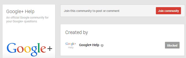 Google+ Plus Community Blocked