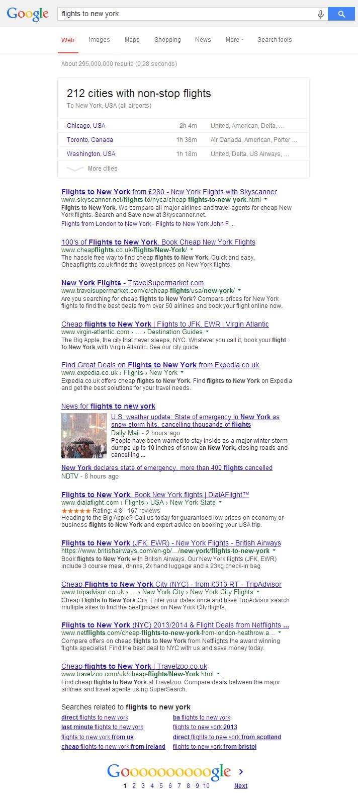 Google Flights to New York Result