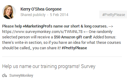 SurveyMonkey Google+ Link