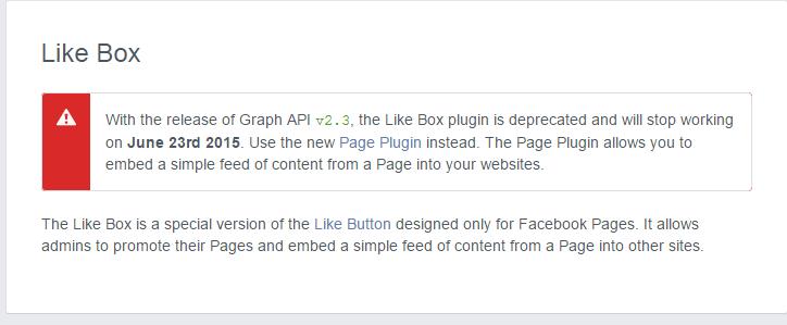 Like Box plugin deprecated