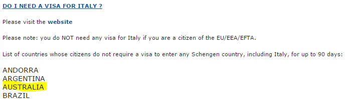 Consolato Generale d'Italia a Melbourne, Visas